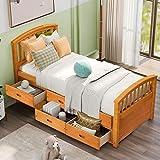 Danxee 6 Drawers Platform Daybed Twin Frame Captains Bed Bedroom Furniture (Natural)