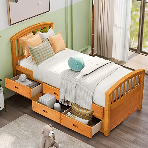 Storage Bed Frame Twin with 6 Drawers,JULYFOX Oak Pine Wood Bed Platform with Headboard Footboard Wood Slats No Box Spring Need Heavy Duty Captain's Bed for Kids Teens Single Adult Small Spaces