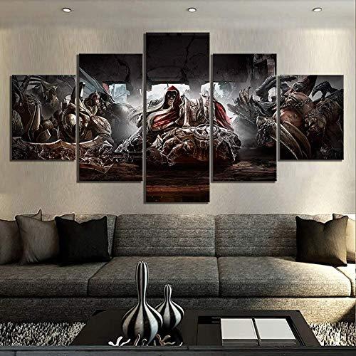 5 Piezas Arte Lienzos Pinturas Pintura De La Lona Decoración Hogareña Darksiders Videojuego Guerra De Caballeros Arte De Pared Modular Imágenes Afiches Salón,B,40x60x2+40x100x1+40x80x2