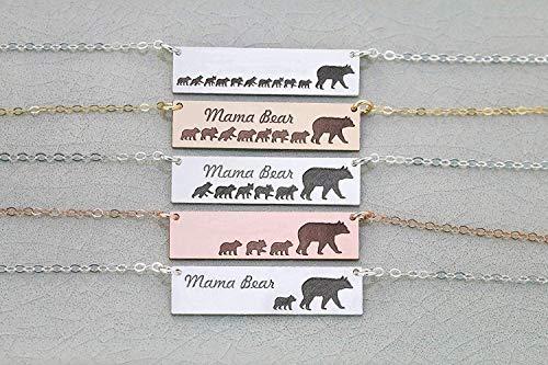 Mama Bear Bar Necklace - IBD - Sterling Silver Rose Gold Filled Horizontal
