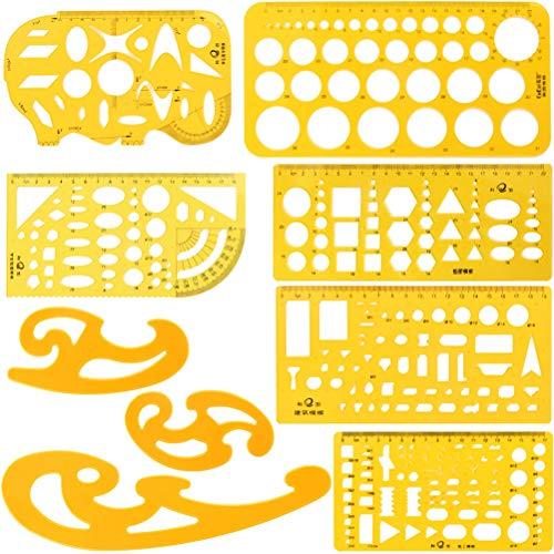 YOTINO Juego de 9 reglas geométricas de plástico con círculos ovalados para dibujar, medir y construir, plantilla de dibujo para oficinas y escuelas