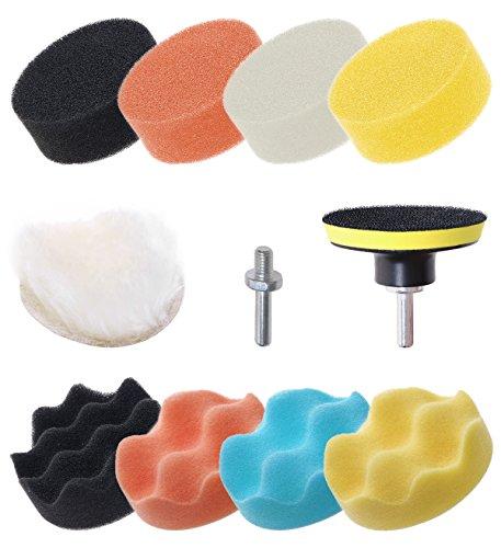 Mini Skater 11 Pcs 3 inch Car Foam Polishing Drill Buffer Compound Kit Buffing Sponge Set Pads Professional Drill for Car Sanding Waxing Sealing Glaze