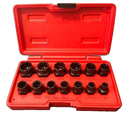SharCreatives Impact Bolt & Nut Remover Set 13 pieces, Nut Extractor and Bolt Extractor Twist Socket Set for Removing Tricky, Broken, Stripped or Damaged Nuts and Bolts