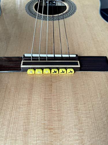 Alba Guitar Beads String Tie Guitar Retenedores de cuerda de nailon para guitarra acústica eléctrica clasica flamenco ukulele verdes amarillos