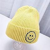 Gu3Je Schön Baby-Jungen Mode Smiley gestrickte Wollmütze warme Winter Hüte Halten gestrickter Wolle-Hut Kinder im Freien wandernde Cap Unisex Soft-Cap Für Frauen (Color : Yellow, Size : 45-52cm)