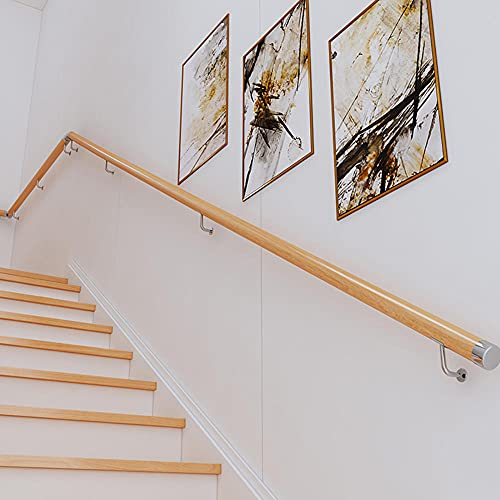 Pasamanos de pared con soportes de pared y tornillos de metal, pasamanos de esquina redonda antideslizante, para niños de edad avanzada, fácil de instalar -150 cm