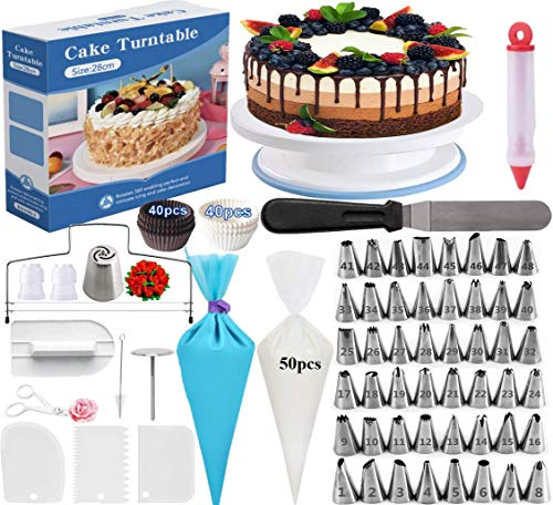 New Cake Decorating Supplies 195 Pcs Cake Decorating Kit Cake Rotating Turntable and More Accessories! Create Amazing Cakes With This Complete Baking Supplies