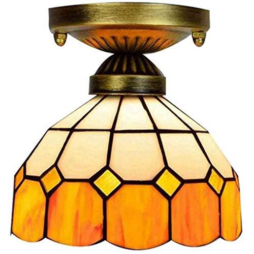 Lámpara de techo estilo mediterráneo Tiffany de 8 pulgadas Lámpara de techo colgante hecha a mano colorida Lámpara de techo Pasillo Decoración del pasillo Pequeñas lámparas Luminaria E27