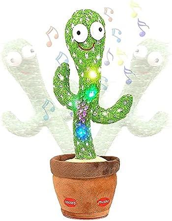 Bailando Cactus Juguete Bailando Cactus Repite Lo Que Dices, Grabando Repetir Y Seguirte Hablar USB Juguetes Educativos Recargables, 120 Canciones Cantando Juguete De Cactus Con Imitación, Para Niños