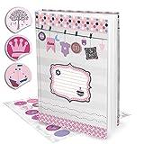 Leeres rosa pink XXL Babytagebuch Mädchen Baby Tagebuch + 35 Aufkleber Erstes Jahr SCHÖN DASS DU DA BIST Buch Babybuch Geschenk Eltern Geburt Kindertagebuch DIN A4