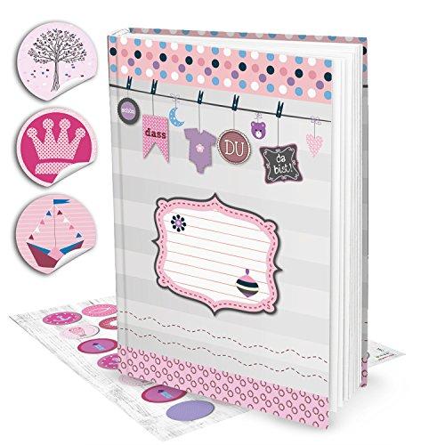 Leeres rosa pink XXL Babytagebuch Mädchen Baby Tagebuch + 35 Aufkleber Erstes Jahr SCHÖN DASS DU DA BIST Buch Babybuch Geschenk Eltern...