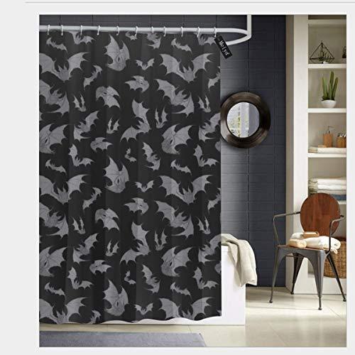 Meiya-Design Fledermaus-Duschvorhang, mit 12 Haken, 183 x 183 cm, Schwarz