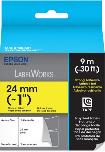 Epson LabelWorks Strong Adhesive Easy Peel Label Tape Cartridge ~ 1-Inch Black on Yellow (LC-6YBW9)
