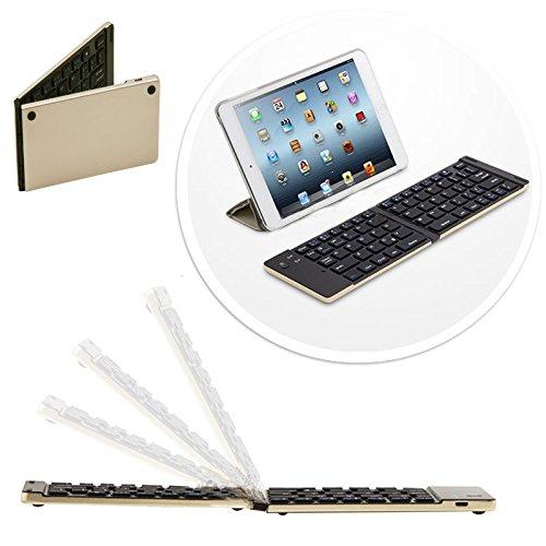 Plegable Inalámbrica Bluetooth QWERTY Keyboard Teclado para Alcatel One Touch Pixi 3(10) dorado dorado