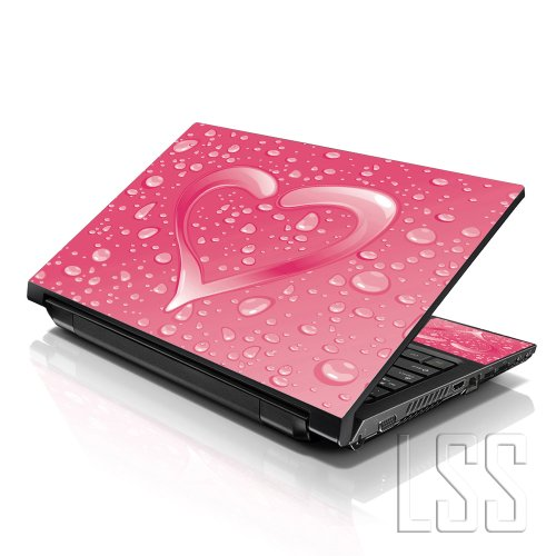 LSS 15 15.6 inch Laptop Notebook Skin Sticker Cover Art Decal Fits 13.3' 14' 15.6' 16' HP Dell Lenovo Apple Asus Acer Compaq (Free 2 Wrist Pad Included) Pink Heart