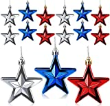 24Pcs Patriotic Star Ornaments for Tree, Fourth of July Decorations Star Hanging Ornament, Red Blue Silver Star Shaped Baubles Ornament for Home Party Indoor Outdoor