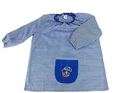 MASMAS Baby Infantil de Cuadros, Babi Poncho sin Botones Conjunto de Uniforme Colegial para Bebe, niños y niñas,Bata Escolar Unisex (Azul, 2)