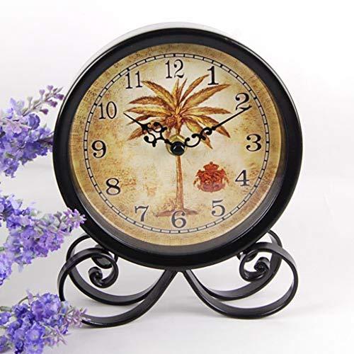 GZQDX Reloj de Mesa Sala de Estar Desktop Creative Desktop Péndulo Reloj de Vino Decoración de la decoración Ornamento Reloj Simple Europeo Retro Copper Reloj (Color : B)