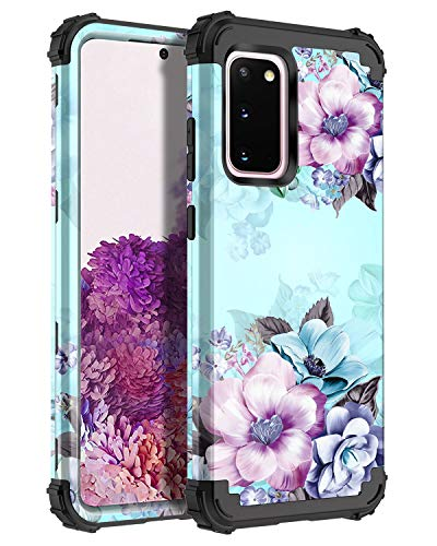 Casetego Compatible with Galaxy S20 Case,Floral Three Layer Heavy Duty Hybrid Sturdy Shockproof Full Body Protective Cover Case for Samsung Galaxy S20 6.2 inch,Blue Flower
