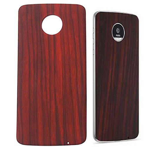 Dngn Moto Mods Style Shell Hülle für Motorola Moto Z3 Z2 Z Force Play Droid Magnetische Adsorption Rückenplatte Schutzhülle (Rot Holzmaserung)