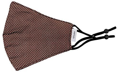 Mund Nase Stoffmaske Gesichtsmaske mit Nasenbügel | Community Fashion Maske - Braun mit weißen Punkten