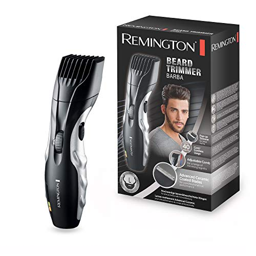 Remington Barba Beard Trimmer for Men with Ceramic Blades and Adjustable Stubble Trimmer Comb for Variable Lengths