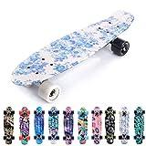 meteor Skateboard Kinder - Mini Cruiser Kickboard - Skateboard mädchen Rollen Board - Kunststoff Skateboards Deck - Retro Skateboard Jungen Mini Board - Skateboard Kinder miniboard (Flowers White)
