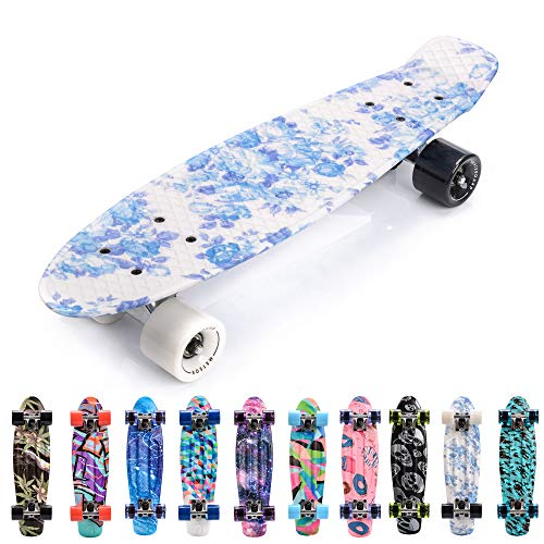 meteor Skateboard Kinder - Mini Cruiser Kickboard - Skateboard mädchen Rollen Board - Kunststoff Skateboards Deck - Retro Skateboard Jungen Mini Board - Skateboard Kinder miniboard (Flowers White)