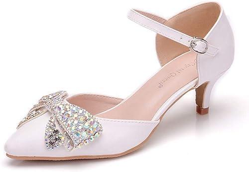 SYXLBDK Zapato mujer Casual Taladro Punta Tacón 5 Cm De Alto Sandalias Marijane Pajarita zapatos zapatos De La Boda