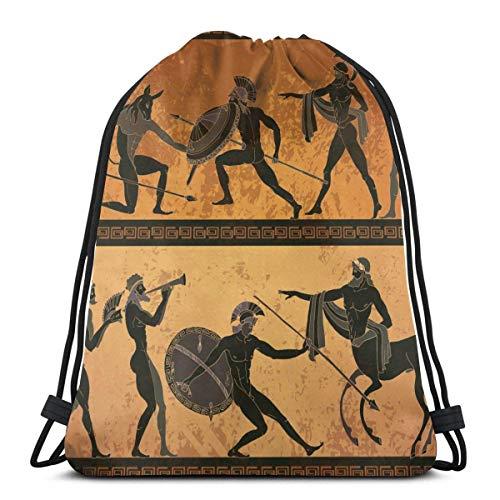 Antigua Grecia negra Figura cerámica caza para dioses minotauros con cordón, mochila para hombres y mujeres, deporte, gimnasio, gimnasio, natación, viajes, playa, 36 x 42,8 cm
