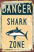 Shark Zone メタルポスター壁画ショップ看板ショップ看板表示板金属板ブリキ看板情報防水装飾レストラン日本食料品店カフェ旅行用品誕生日新年クリスマスパーティーギフト