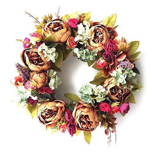 Mdjywl Peony Decoration Wreath Fake Flower Home Door Wall Hanging Garland Wedding Prop Decor Decorat