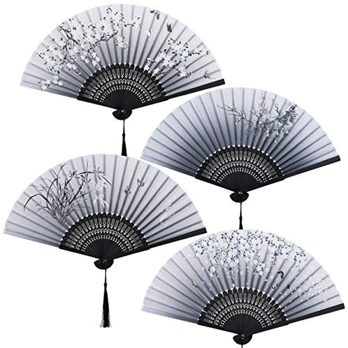 GWHOLE 4 piezas Abanicos Plegables de Mano Abanicos Estilo Chino Flores Abanicos de Bambú,Regalo Recuerdo Detalle para Mujeres y Hombres con Bolsa para Guadar -Series de Azul