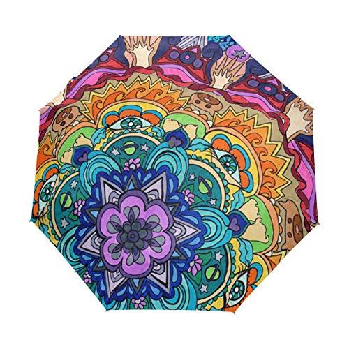 XiangHeFu - Paraguas Abstracto con diseño Floral y Mandala de arcoíris con Cierre automático, 3 Pliegues, Ligero, antiUV