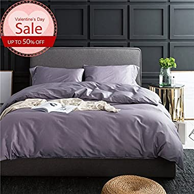 LifeTB Queen Size Duvet Cover Solid Grey Cotton Bedding Sets with Buttons for Boys Girls Modern Duvet Comforter Cover for Teens Adults Luxury Soft and Warm Hotel Quality Comforter Bed Duvet Set by