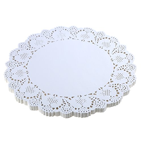 DECORA 12.5 Inch Round White Paper Lace Doilies for Wedding Table Decorations 100pcs