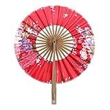 8 Pulgadas Ventilador del Mano Seda de Flor Superficie Abanico Plegable Bambú Monedero Molino de Viento - Rojo