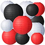 12 Pieces Paper Lanterns Artifacts Round Chinese Japanese Paper Lanterns Decorative Ball Lanterns Lamps for Weddings, Birthdays, Parties and Events, 4 Sizes of 4, 6, 8, 10 Inch (Black, White, Red)