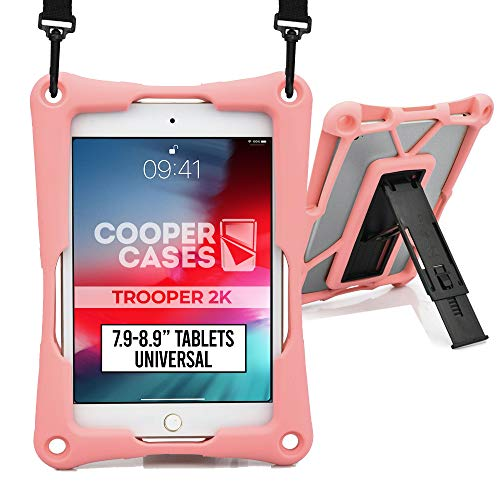 Cooper Trooper 2K Rugged Case for 7.9-8.9  Tablet   Tough Bumper Protective Drop Shock Proof Kids Holder Carrying Cover Bag, Stand, Hand Strap (Pink)