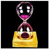 YYCFB Reloj de madera y cristal con diseño de flor de hierro y hierro, color rosa, con caja (reloj...