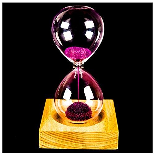 YYCFB Rosa ferro polvere sabbia ferro ferro orologio con sabbia magnetica in legno e vetro con confezione (orologio a sabbia 13,5 x 5,5 cm, seduta in legno 8 x 8 x 2 cm)