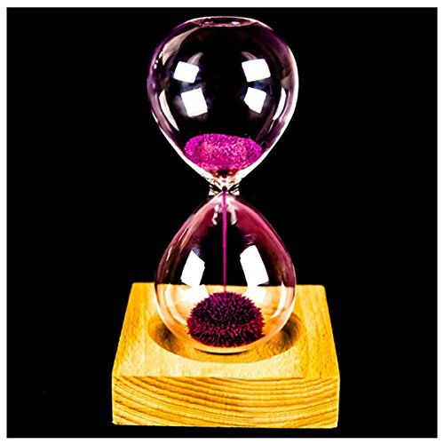 YYCFB Reloj de madera y cristal con diseño de flor de hierro y hierro, color rosa, con caja (reloj de arena de 13,5 x 5,5 cm, asiento de madera de 8 x 8 x 2 cm)