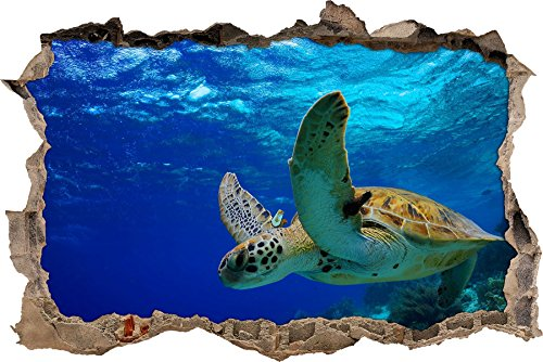 Pixxprint 3D_WD_S2599_92x62 schöne Schildkröte im Wasser Wanddurchbruch 3D Wandtattoo, Vinyl, bunt, 92 x 62 x 0,02 cm