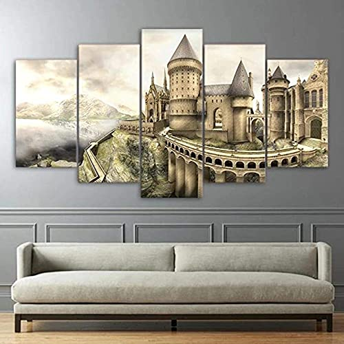 QWEER 5 Piece Wall Art, 5-Piece Family Decoration Painting Canvas Pictures Wall Art Framed 5 Piece Canvas Wall Art Hogwarts Castle Abstract Modern Canvas Art Wall Decor (60''Wx32''H)