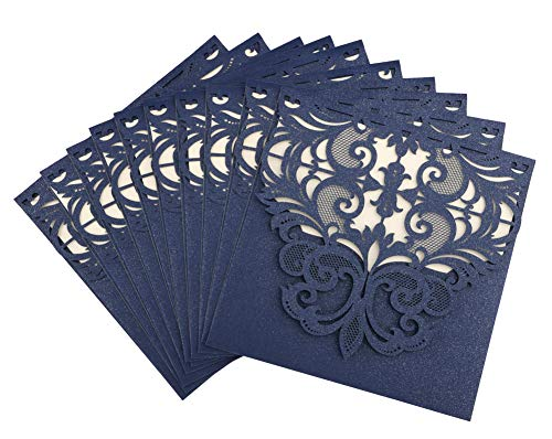 DriewWedding 20 pcs Wedding Invitations, Blue Square Laser Cut Invitation Cards, Hollow Clamshell Design with Envelope & Ribbon Bow for Bridal Baby Shower,Engagement,Birthday Party