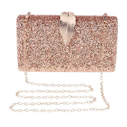 B Baosity Damara Elegant Abendtasche Handtasche Unterarmtasche Schultertasche Partytasche mit Kette - Gold