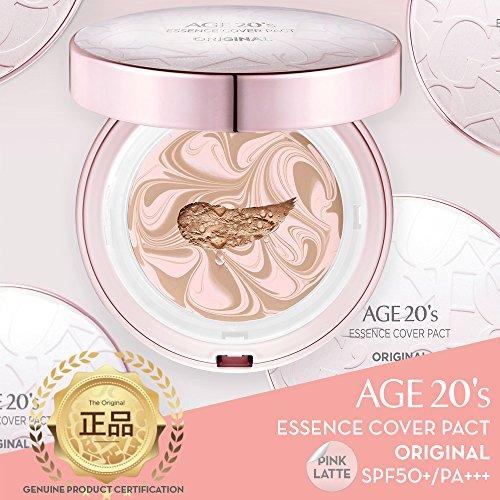 20 ans maquillage Fondation Compact haut de gamme, + 1 recharge supplémentaire - Rose Latte Essence Couverture Pacte SPF50 + (Made in Korea) - Rose / Beige Naturel (couleur 23)
