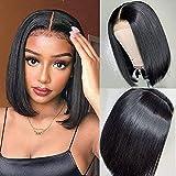 PORSMEER Peluca Lace front Corta Recta negro Afro pelucas estilo bob para Mujer, Natural Brasileña Pelo Completo Sintéticas Pelucas para Cosplay Disfraz o Diariamente