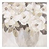Cuadro de Flores Pintados a Mano en Lienzo Blanco y Dorado de 80x80 cm - LOLAhome