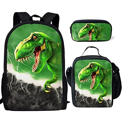 Poceacles Animal 3D Dinosaur Print Cool Backpack Set 3-in-1 Kids School Bag, Student School Backpack Lunch Bag Pencil Case Gift for Teen Kids Boys, Green